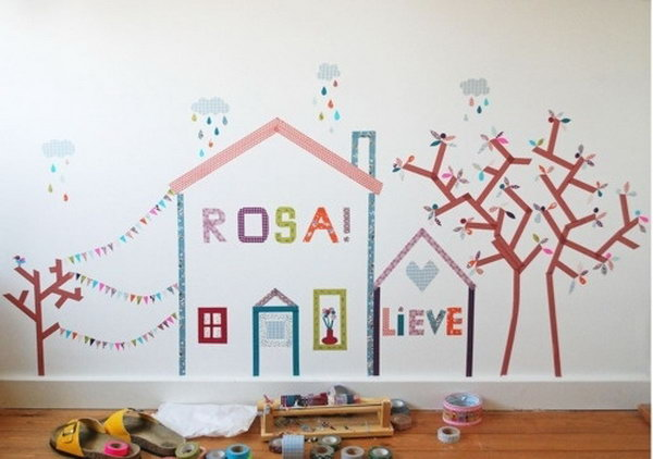 Create a Mural with Washi Tape in a Kid's Room.