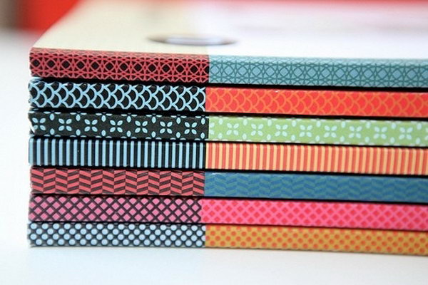Washi Tape Used To Cover Book Spines.