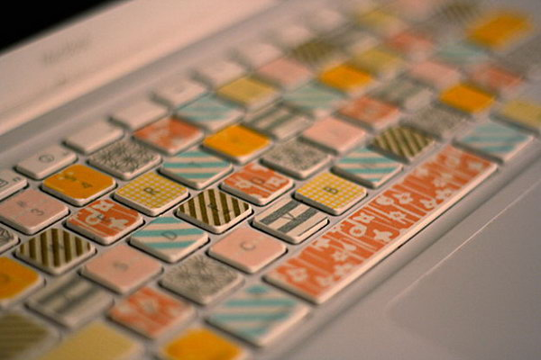 Decorate Computer Keyboard with Washi Tape.