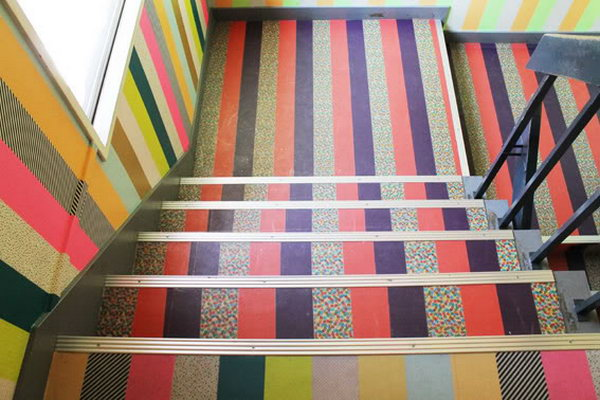 Stair Decoration with Washi Tape.