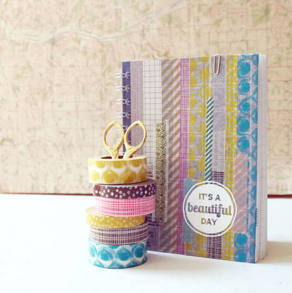 Cover a Boring Notebook with Washi Tape.