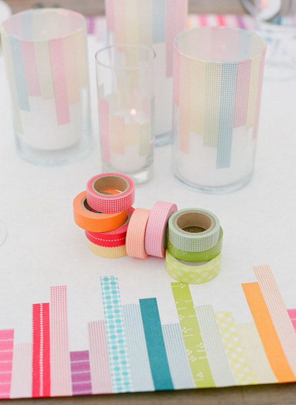 Glass Candle Holders Decoration with Washi Tape.