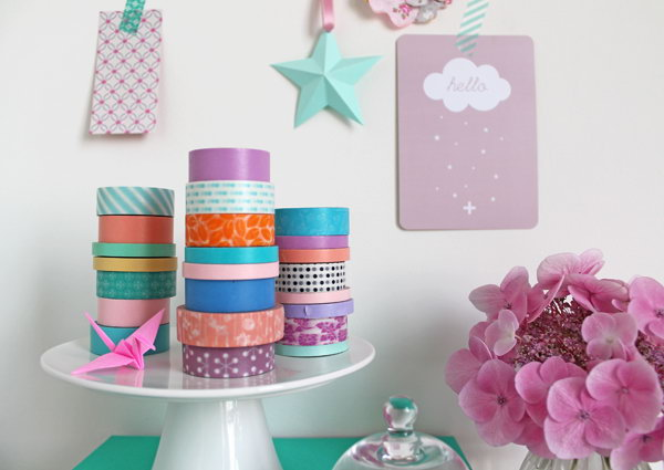 Cake Stand Repurposed for Stacking and Displaying Washi Tape. See the directions