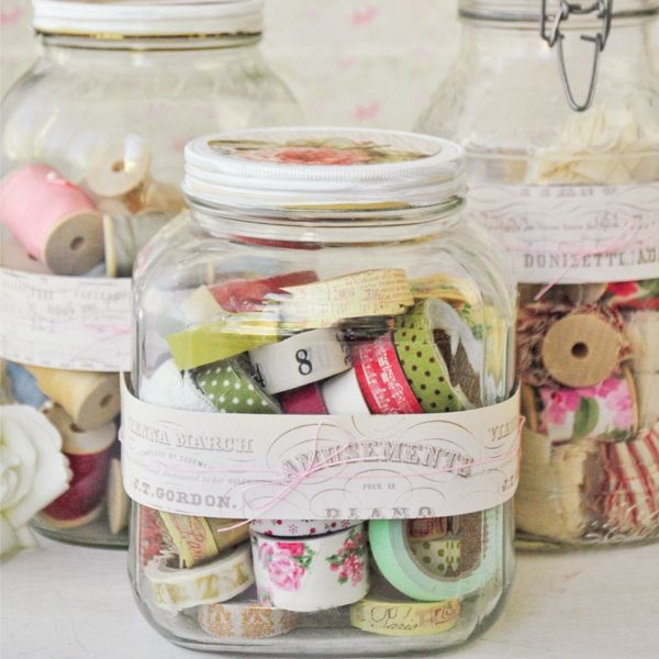 Pretty Storage Jars for Washi Tape.
