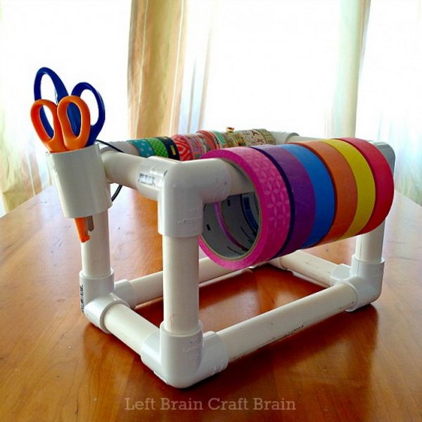 DIY PVC Pipe Washi Tape Dispenser. See how to make it