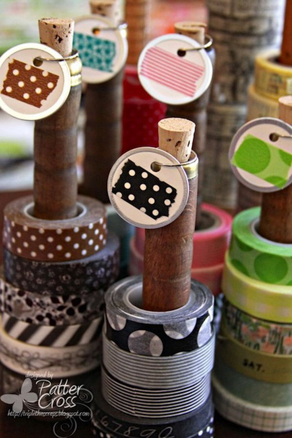 Vintage Wooden Spools Bobbins for Wash Tape Storage. Get the drections