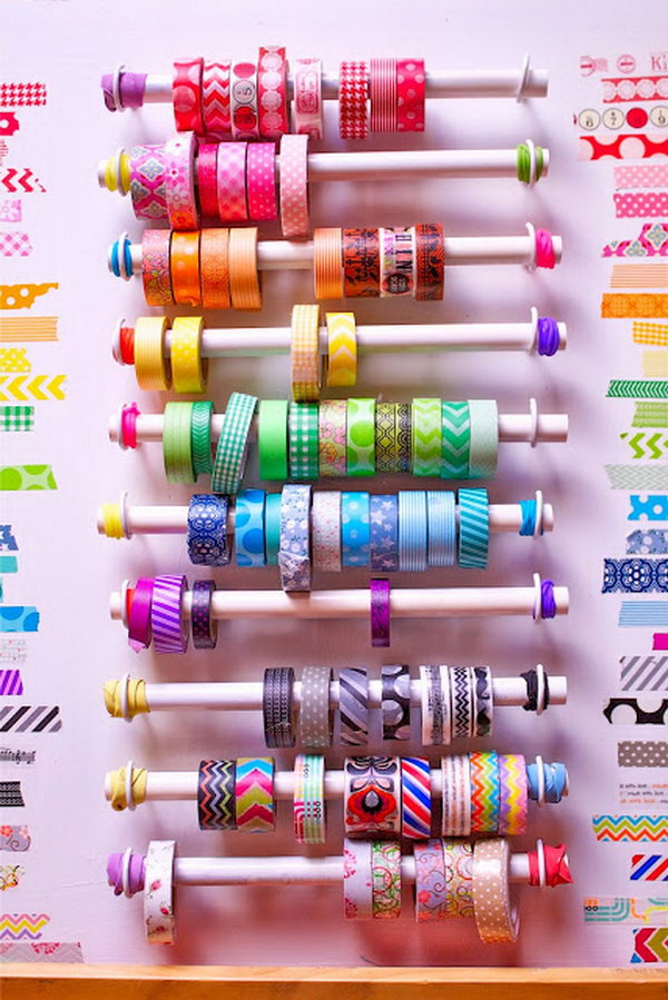 Clever diy ideas tutorials for washi tape storage for Diy cassette shelf