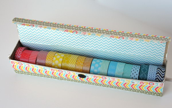 Old Aluminum Foil Box for Storing Washi Tape. See how to make it