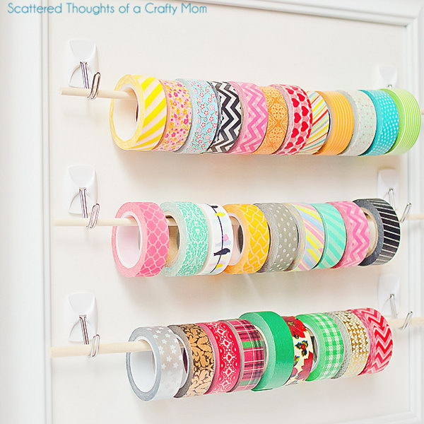Easy Washi Tape Storage with Sticky Hooks and Wooden Dowels. Get the nstructions