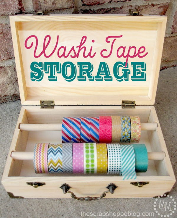 Wood Box Washi Tape Storage. Get the storage