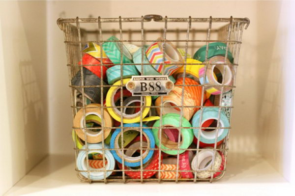 Vintage Wire Basket Used as Washi Tape Storage. See more details