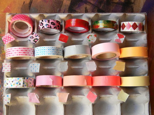 Egg Carton Washi Tape Storage System. See more directions