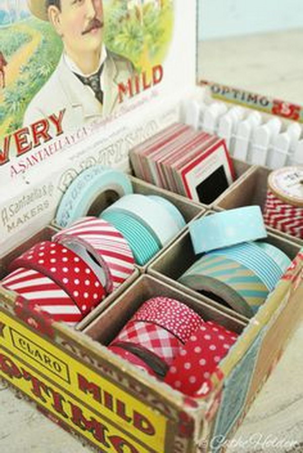 Organize Washi Tape with a Cigar Box.