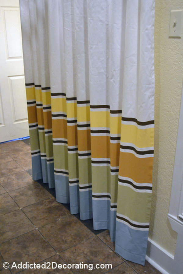 DIY Painted Striped Curtains. Get more details