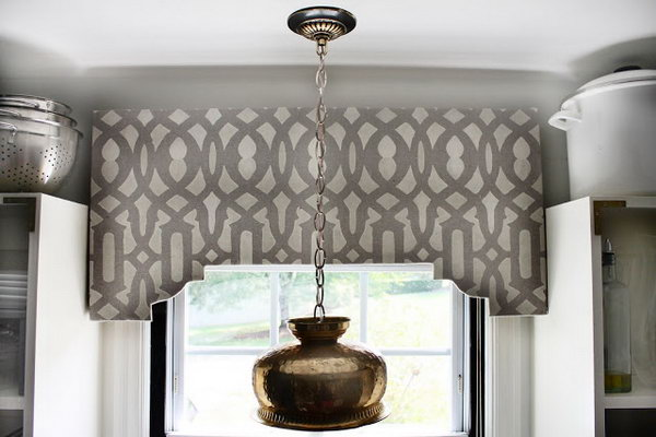 DIY Stenciled Cornice Board. See the tuttorial
