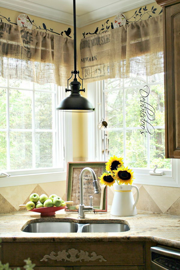 DIY No Sew Burlap Kitchen Valances Made from Coffee Bags. See how