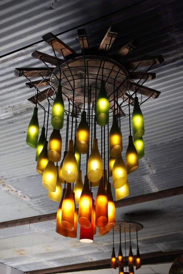 Recycled Wine Bottle Chandelier.
