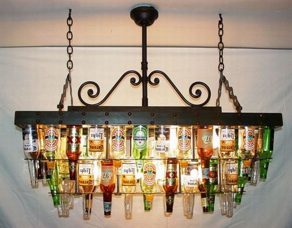 10 wine bottle chandelier ideas