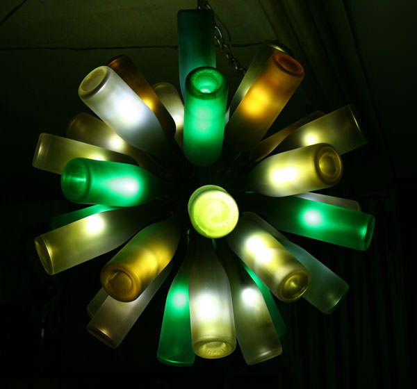 12 wine bottle chandelier ideas