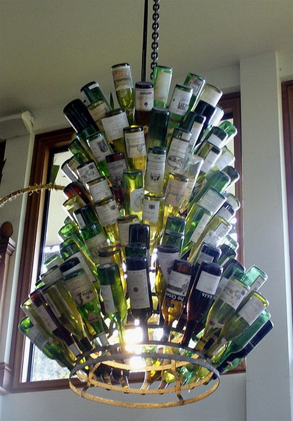 13 wine bottle chandelier ideas