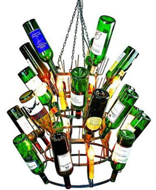 15 wine bottle chandelier ideas