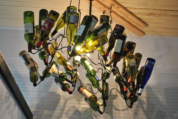 16 wine bottle chandelier ideas