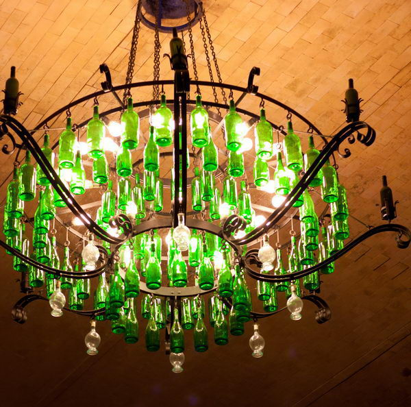 17 wine bottle chandelier ideas