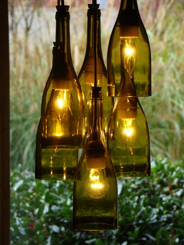 2 wine bottle chandelier ideas