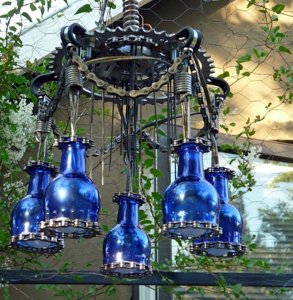 20 wine bottle chandelier ideas
