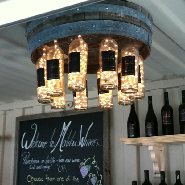 DIY Wine Barrell and Wine Bottle Chandelier.