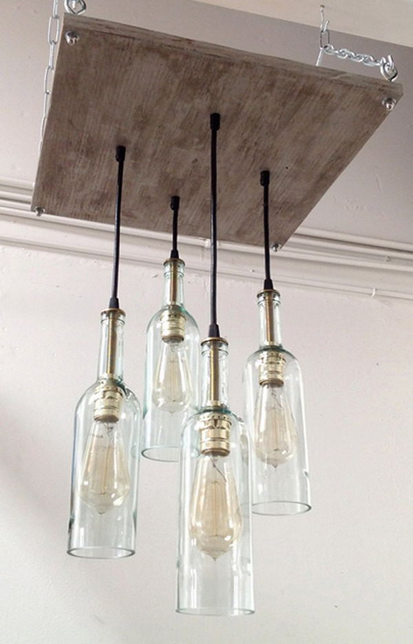 Wine Bottle Chandelier. This chandelier is intriguing and very functional for any room.