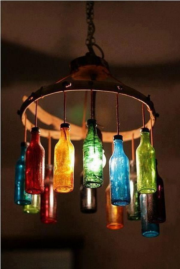 6 wine bottle chandelier ideas
