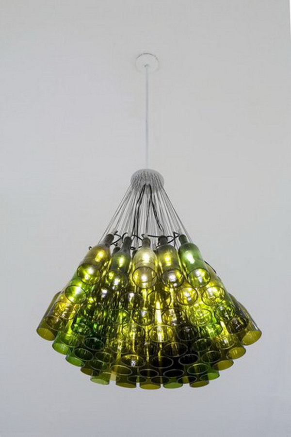 8 wine bottle chandelier ideas