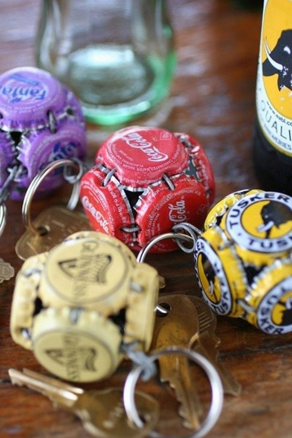 Bottle Cap Globe Key Chain. A perfect homemade Father's Day gift.