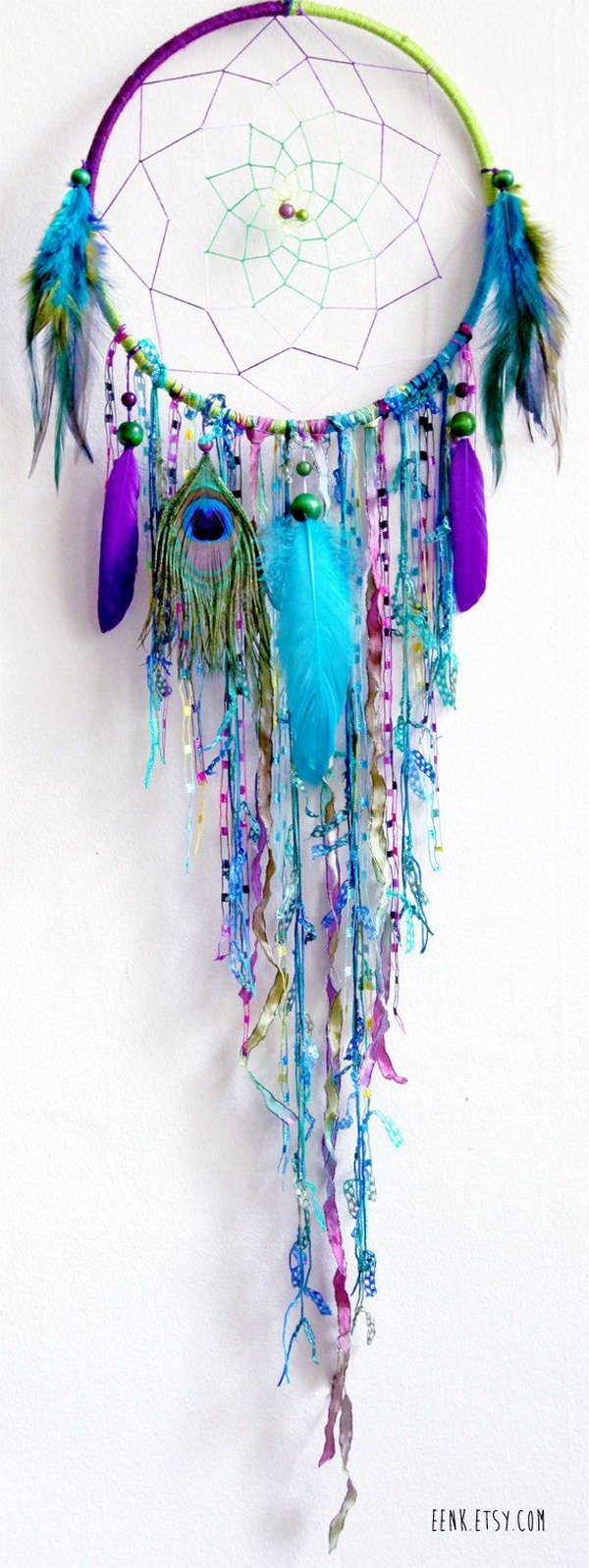 DIY Blue Feather and Bead Dream catcher .