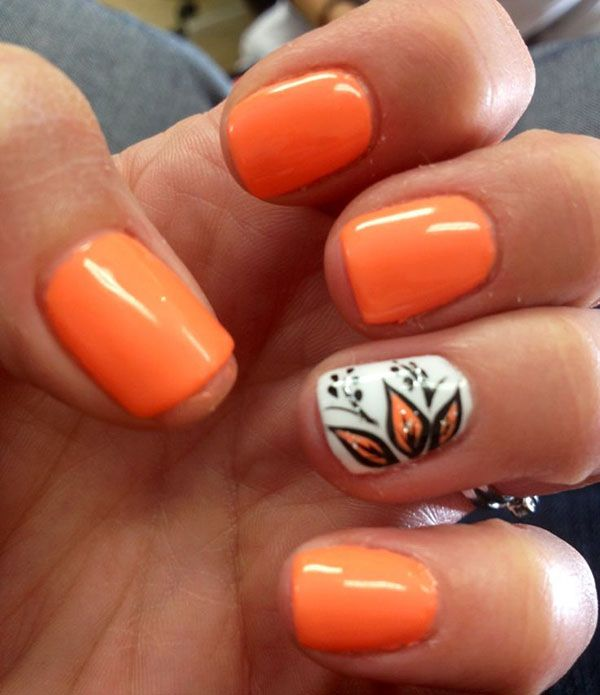 Fall ready Nail Accented with Flowers.