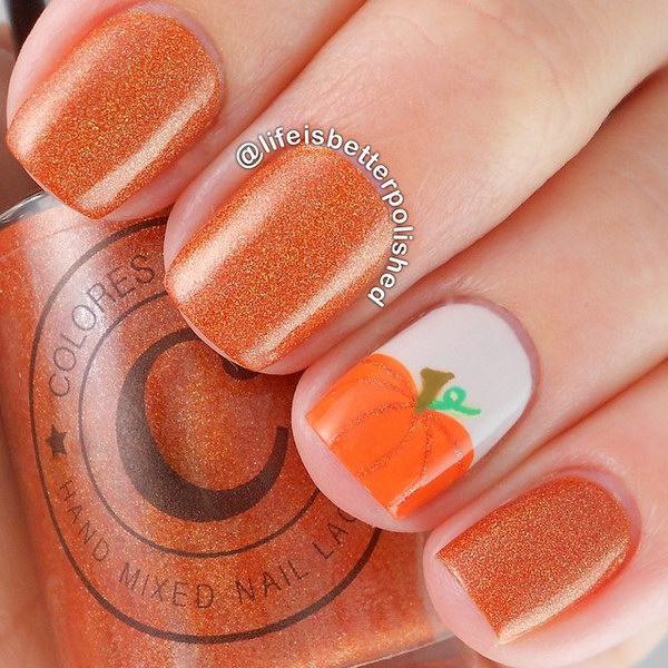 Glittery Orange and Pumpkins Fall ready Mani.