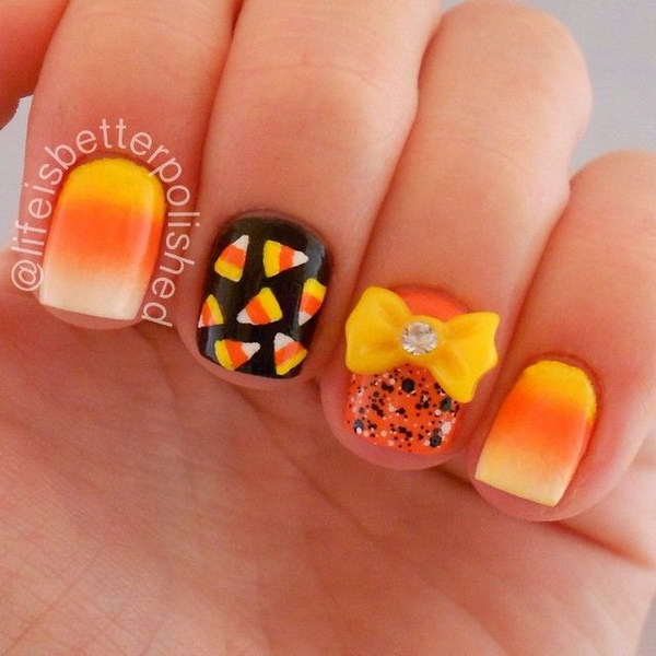 Fall ready Nails with a Cute Yellow Bow Accent.