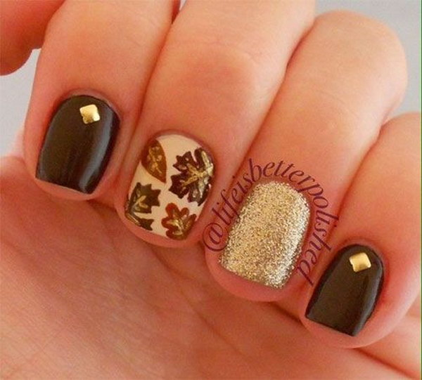 Fall Leaves Nails with Studs and Glitter Accent.