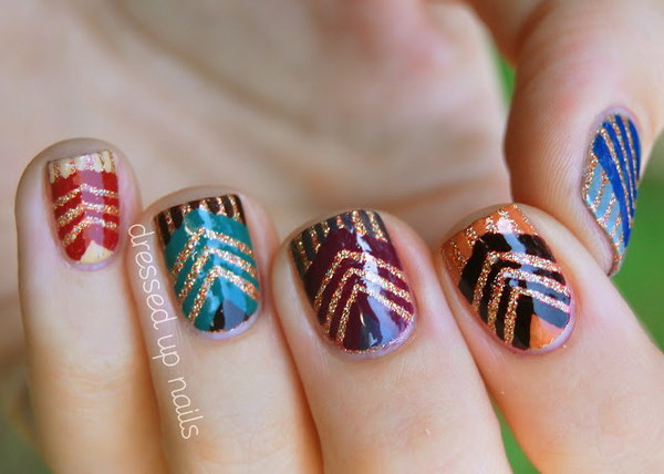 Glittering Chevrons Manicure. See more details