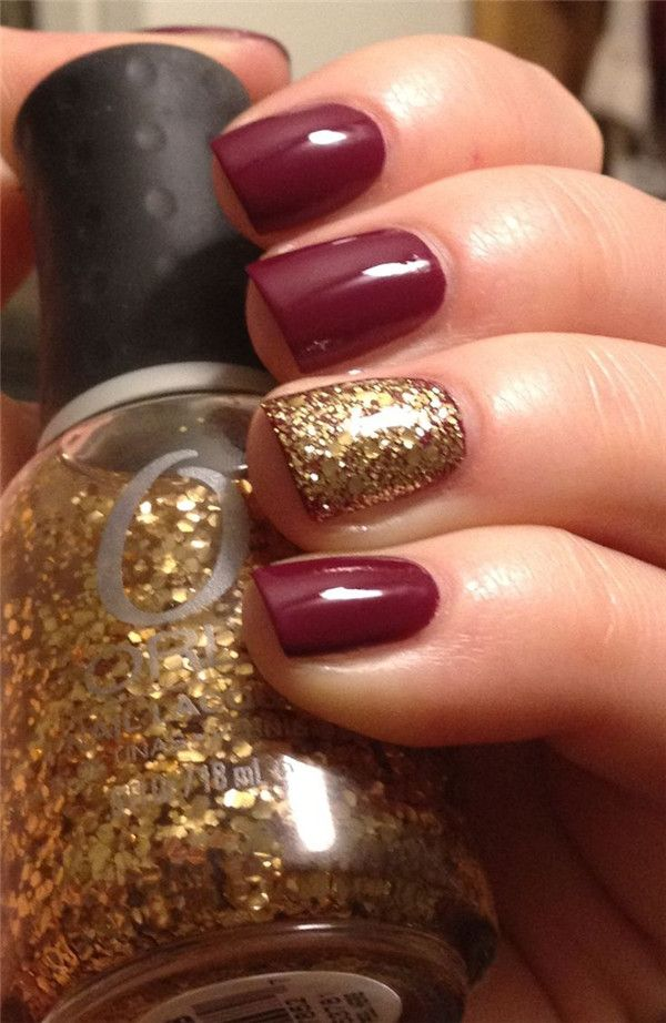 Red and Glitter Fall Nails.
