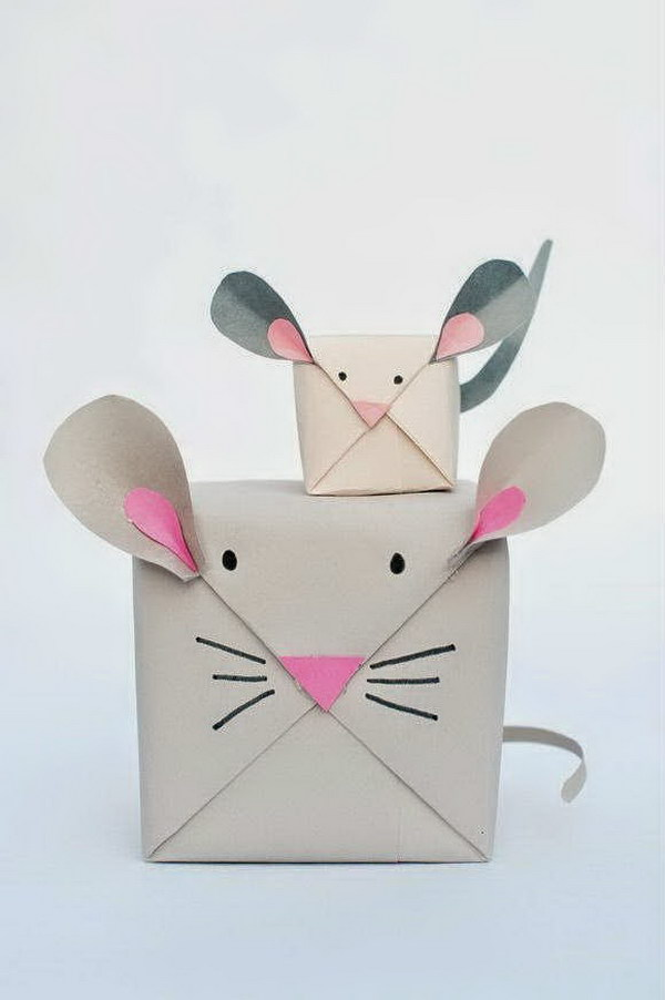 DIY Cute Mouse Gift Wrap.