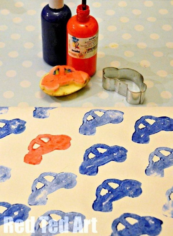 Potato Print Cars for Kids Gift Wrapping.