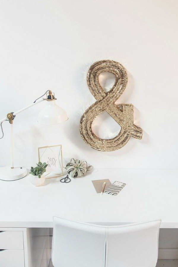 DIY Sequined Monogram Wall Art.