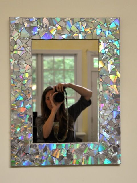 DIY CD Mosaic Mirror.