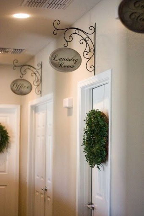 Make Hallway Signs out of Brackets from Hardware Store and Wood from Hobby Lobby.