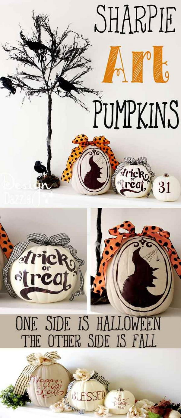 DIY Two sided Decorative Pumpkins.