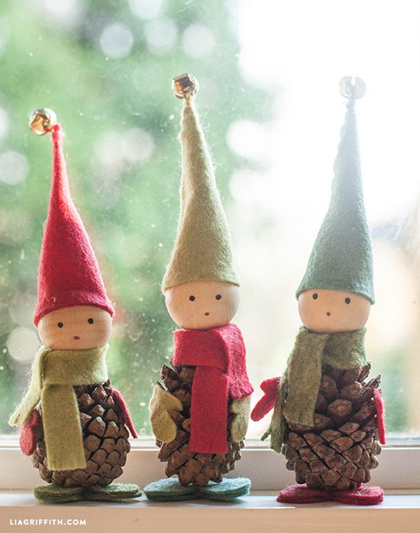 Felt and Pine Cone Elves.