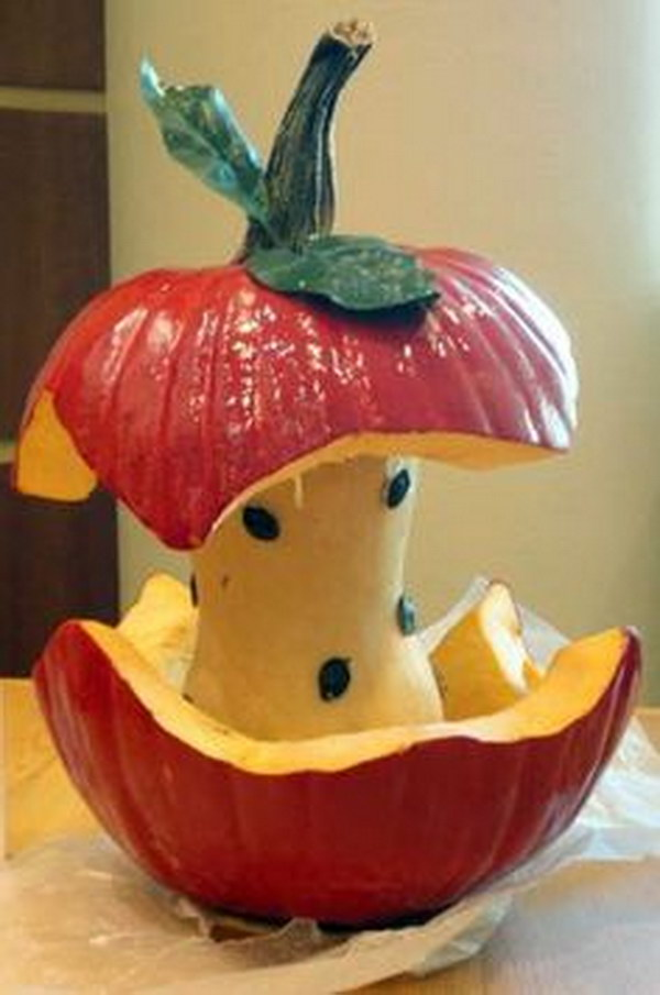 Apple Core Carved Pumpkin.