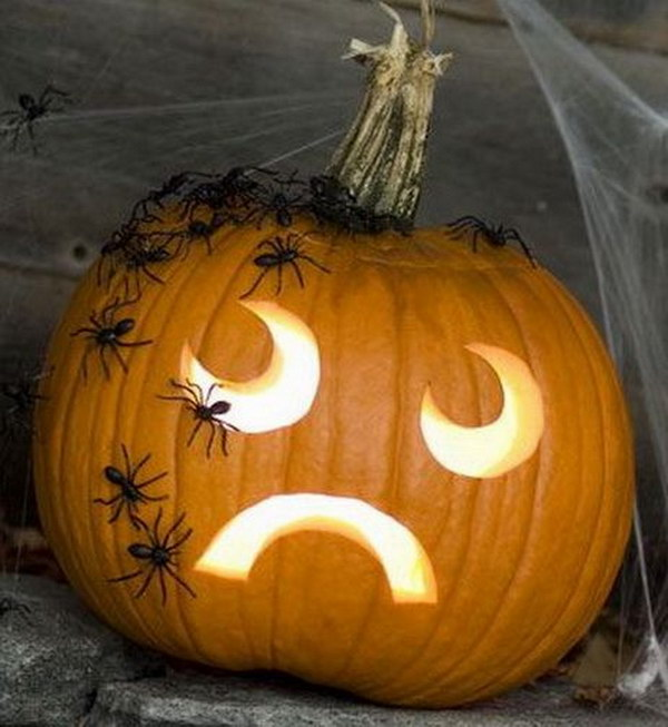 Simple Face Carved Pumpkin Decorated with Scary Spiders.